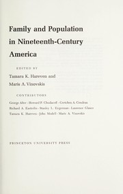 Cover of: Family and population in nineteenth-century America