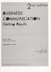Cover of: Business communication | Paul R. Timm