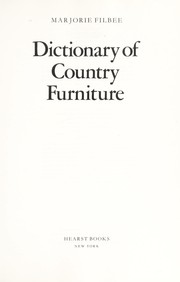 Cover of: Dictionary of country furniture