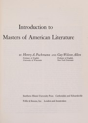 Cover of: Introduction to masters of American literature | Henry August Pochmann