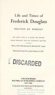 Cover of: Life and times of Frederick Douglass written by himself | Frederick Douglass