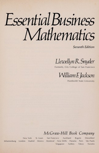 Essential business mathematics by Llewellyn R. Snyder