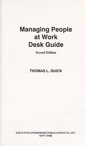 Managing people at work by Thomas L. Quick