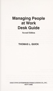 Cover of: Managing people at work | Thomas L. Quick