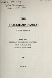 Cover of: The Beauchamp family