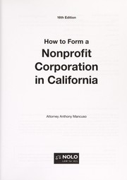 Cover of: How to form a nonprofit corporation in California | Anthony Mancuso