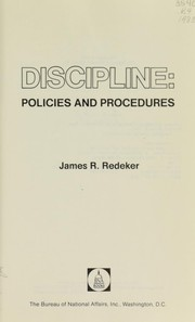 Cover of: Discipline, policies and procedures | James R. Redeker