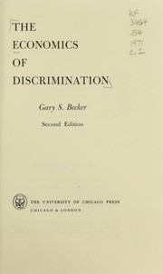 Cover of: The economics of discrimination
