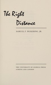Cover of: The right distance