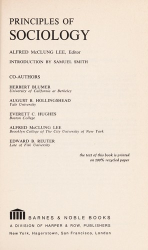 Principles of sociology, with an introduction by Samuel Smith by Alfred McClung Lee