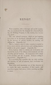 Cover of: Report of the committee on establishing a general smelting & refining company in the city of New York |