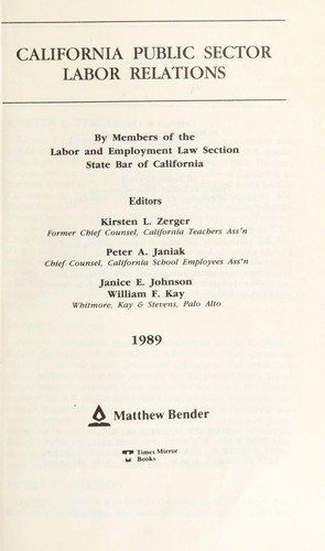 California employment law by editorial consultant, M. Kirby Wilcox ... [et al.].