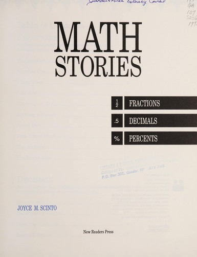Math stories by Joyce Scinto