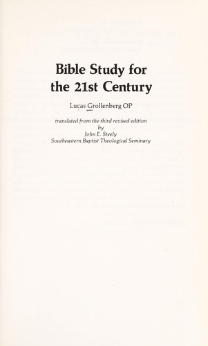 Bible study for the 21st century by Lucas Hendricus Grollenberg