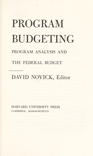 Program budgeting by edited by David Novick.
