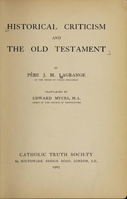 Cover of: Historical criticism and the Old Testament