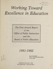 Cover of: Working toward excellence in education | Montana. Office of Public Instruction