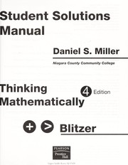 Cover of: Student solutions manual [for] Thinking mathematically, fourth edition by Robert Blitzer | Daniel S. Miller