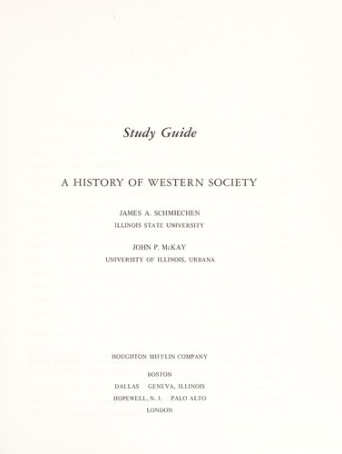 A history of Western society by James A. Schmiechen