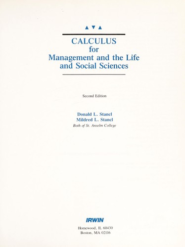 Calculus for management and the life and social sciences by Donald L. Stancl