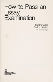 Cover of: How to pass an essay examination | Sandra L. Quinn-Musgrove