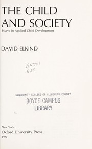 Cover of: The Child and Society