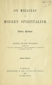 Cover of: On miracles and modern spiritualism | Alfred Russel Wallace