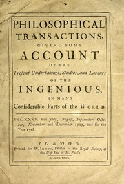 Cover of: Philosophical transactions for the month of December, 1728