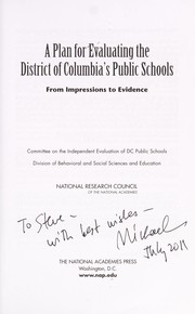 Cover of: A plan for evaluating the District of Columbia's public schools