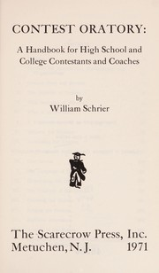 Cover of: Contest Oratory | William Sehrier