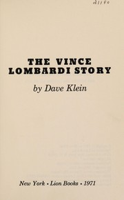 Cover of: The Vince Lombardi story
