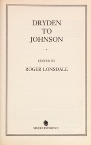 Cover of: Dryden to Johnson |