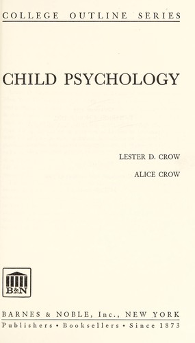 Child psychology by Lester Donald Crow
