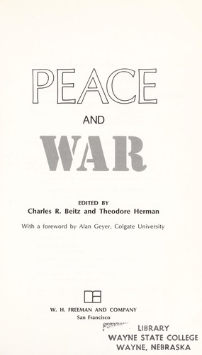 Peace and war by Charles R. Beitz