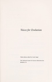 Cover of: Voices for evolution | Carrie Sager