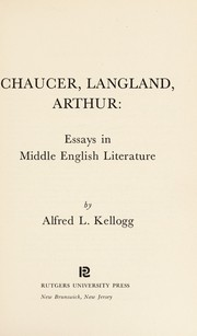 Cover of: Chaucer, Langland, Arthur: essays in Middle English literature