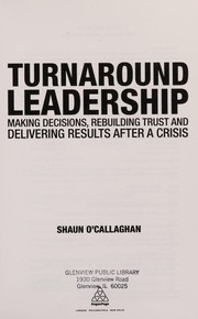 Cover of: Turnaround Leadership | Shaun O