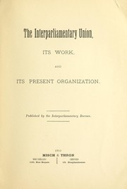 Cover of: The interparliamentary Union | Interparliamentary Union