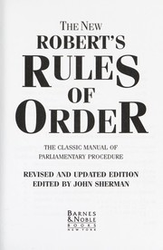 Cover of: The New Robert's Rules of Order |