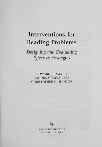 Interventions for reading problems by Edward J. Daly