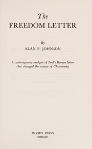 Cover of: The freedom letter | Alan F. Johnson