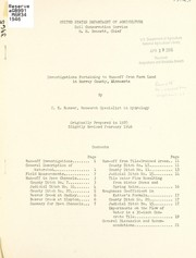 Cover of: Investigations pertaining to run-off from farm land in Murray County, Minnesota | C. E. Ramser