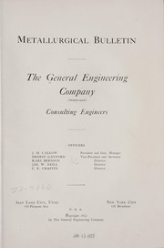 Cover of: Metallurgical bulletin | General engineering company, inc. [from old catalog]