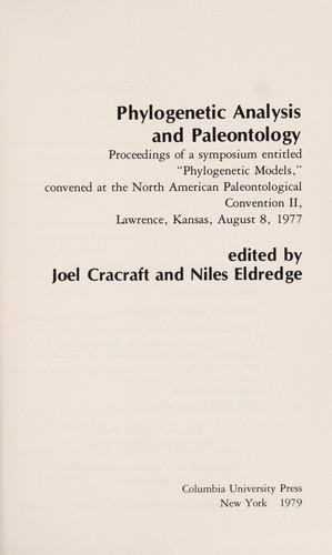 Phylogenetic Analysis and Paleontology by Joel Cracraft