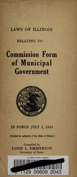 Cover of: Laws of Illinois relating to commission form of municipal government | Illinois