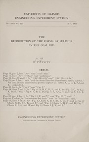 Cover of: The distribution of the forms of sulphur in the coal bed