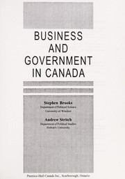 Cover of: Business and government in Canada