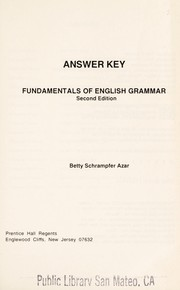 Cover of: Answer key | Betty Schrampfer Azar