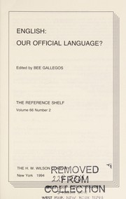 Cover of: English--our official language? | edited by Bee Gallegos.