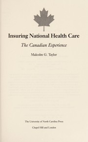 Cover of: Insuring national health care